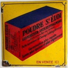 Vintage: PLACA ESMALTADA DE PUBLICIDAD -POUDRE ST.ÉLOI-. Lote 194878147