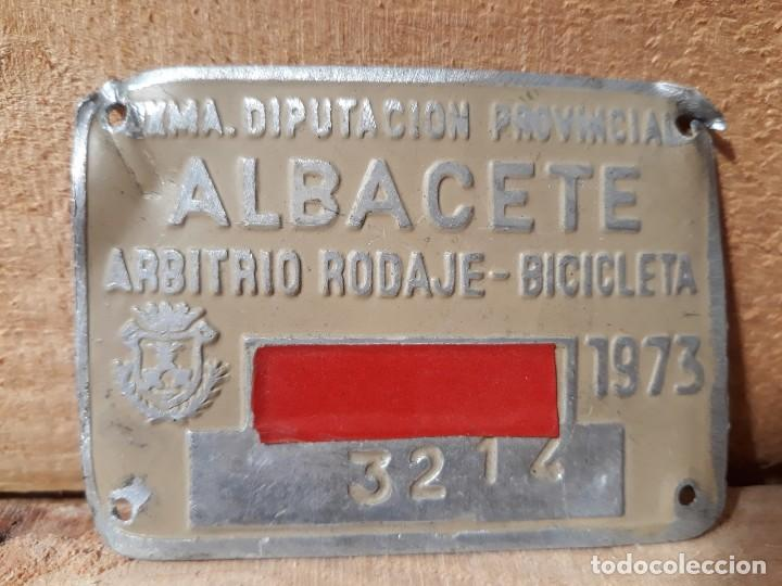 MATRICULA ANTIGUA BICICLETA ARBITRIO RODAJE ALBACETE 1973 (Vintage - Varios)