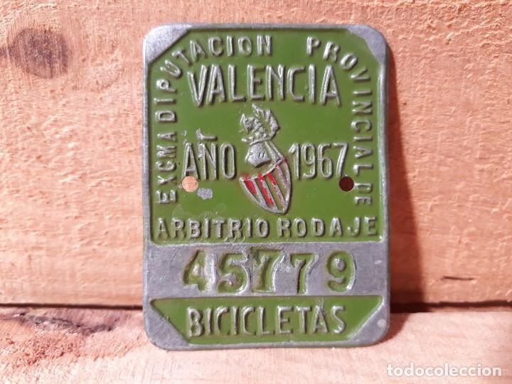 MATRICULA BICICLETA ANTIGUA ARBITRIO RODAJE VALENCIA AÑO 1967 (Vintage - Varios)