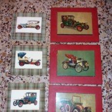 Vintage: LOTE 6 CUADROS DE COCHES ANTIGUAS. Lote 194974326