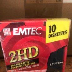"""Vintage: CAJA 10 DISKETTES 2HD EMTEC 3,5""""/90MM. INFORMÁTICA. SIN ESTRENAR. Lote 195097806"""
