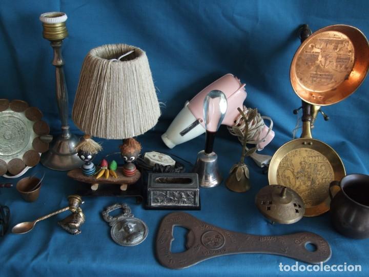 Vintage: NUMEROSOS ARTÍCULOS DECORACIÓN VINTAGE. METAL. BRONCE. LAMPARA, SECADOR - Foto 3 - 195185036