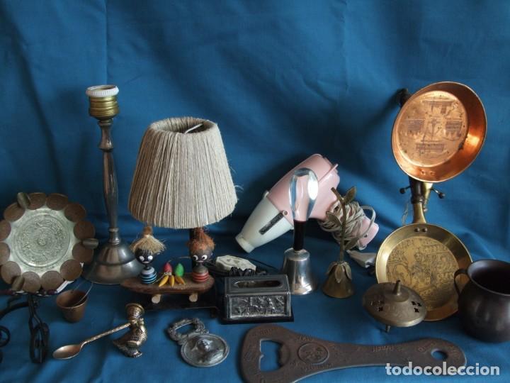 Vintage: NUMEROSOS ARTÍCULOS DECORACIÓN VINTAGE. METAL. BRONCE. LAMPARA, SECADOR - Foto 5 - 195185036
