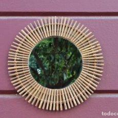 Vintage: ESPEJO SOL DE MIMBRE VINTAGE. Lote 195314608