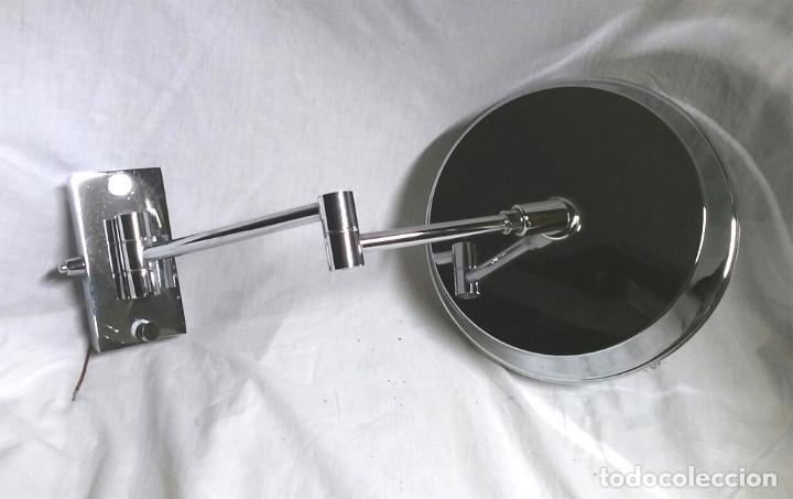 Vintage: Espejo aumento pared luz fluorescente 2 brazos, funciona, Med. espejo 24 cm - Foto 3 - 195358476