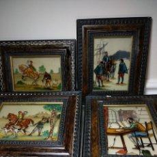 Vintage: LOTE DE CUADROS PINTADOS SOBRE CRISTAL. Lote 195366696