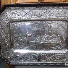 Vintage: GRABADO EN METAL PLATEADO ENMARCADO DESPEDIDA DE CRISTOBAL COLON.. Lote 195920212