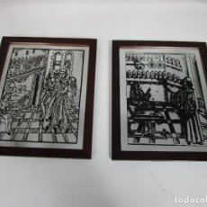 Vintage: PAREJA DE ESPEJOS PINTADOS - FARMACIA MEDIEVAL - GRAVADO DEL LIBRO DE CIRUGÍA DE BRUNSCHWIG 1497. Lote 197383002