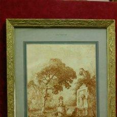 Vintage: LA FONTAINE DE HUBERT ROBERT CUADRO VINTAGE. Lote 203559512