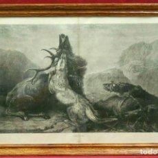 Vintage: LA MUERTE DEL CIERVO LES MERVEILLES DE L´ART MODERNE 1886 CUADRO VINTAGE. Lote 203561033