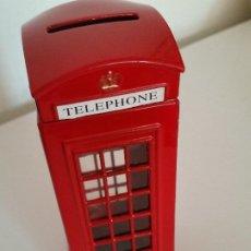Vintage: CABINE TELEFONICA EN UNA HUCHA HECHA EN HIERRO. Lote 203722842
