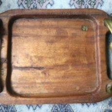 Vintage: BANDEJA ESCULTURA DE BRONCE Y MADERA TALLADA DAVID MARSHALL AÑOS 70. Lote 204316971