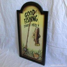 Vintage: CUADRO EN RELIEVE GOOD FISHING, STARTS HERE¡ BUENA PESCA, COMIENZA AQUÍ. Lote 224665735