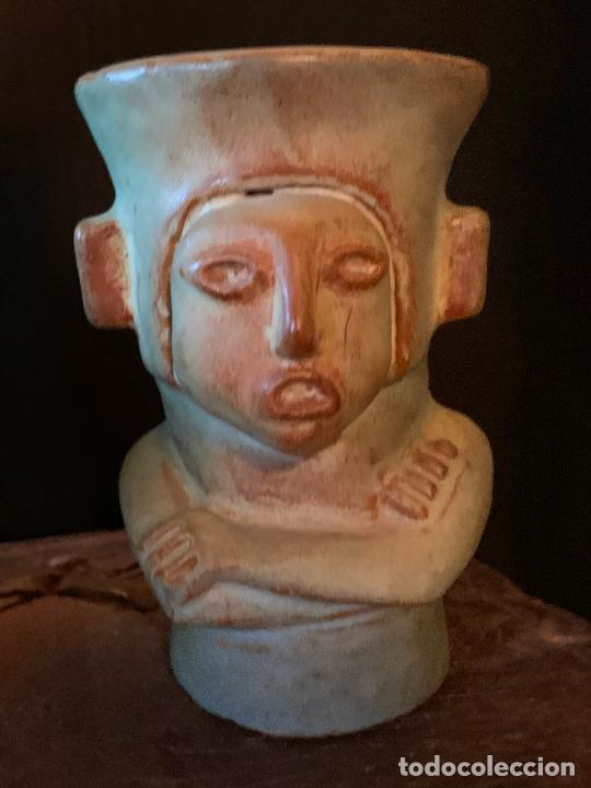 Vintage: Espectacular vaso TIKI - VINTAGE en terracota , mide unos 11cms alto x 7cms diametro - Foto 3 - 206375951