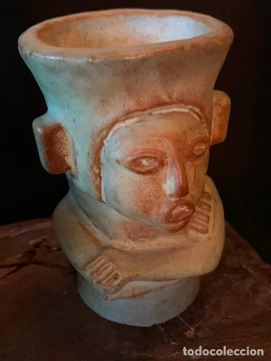 Vintage: Espectacular vaso TIKI - VINTAGE en terracota , mide unos 11cms alto x 7cms diametro - Foto 4 - 206375951