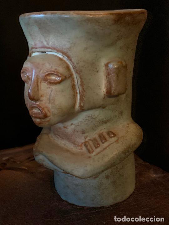 Vintage: Espectacular vaso TIKI - VINTAGE en terracota , mide unos 11cms alto x 7cms diametro - Foto 5 - 206375951