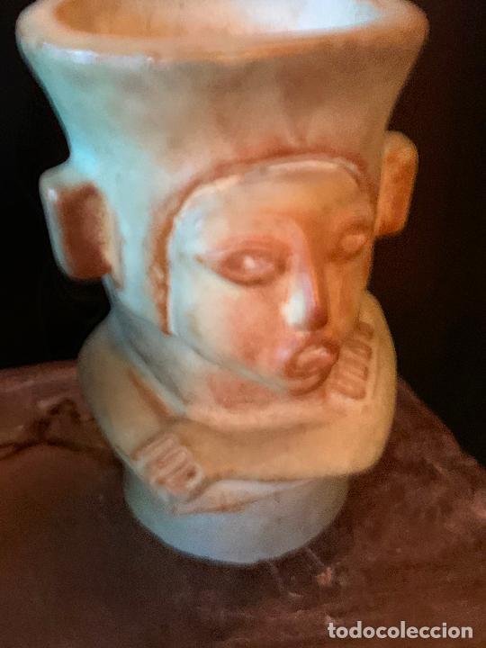 Vintage: Espectacular vaso TIKI - VINTAGE en terracota , mide unos 11cms alto x 7cms diametro - Foto 9 - 206375951