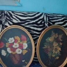 Vintage: PAREJA CUADROS FLORES. Lote 206597666