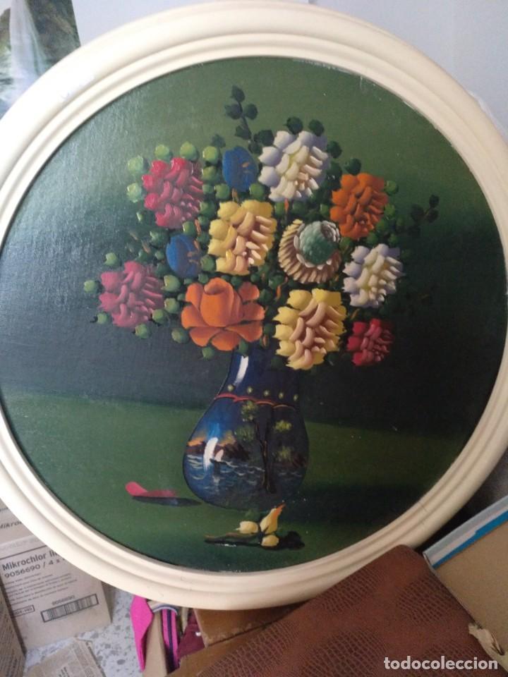 CUADRO FLORES VINTAGE. OLEO SOBRE TABLEX (Vintage - Decoración - Varios)