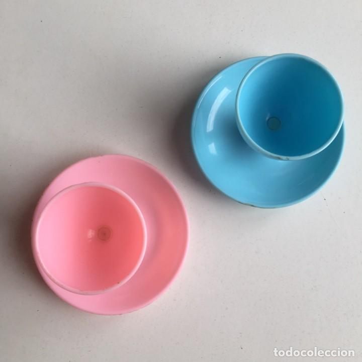 Vintage: Lote Huevera vintage media docena mas 2 hueveras individuales para el y ella, en azul y rosa - Foto 8 - 207233123