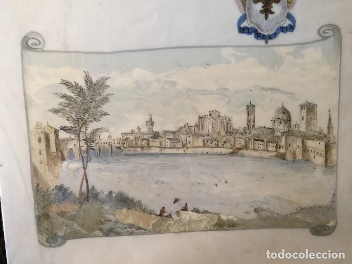 Vintage: tapa sobre mesa baja marmol pintado vista florencia firenze italia florentia italy barniz años 50 60 - Foto 3 - 208019728