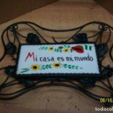 Vintage: CARTEL DE MI CASA ES MI MUNDO. Lote 208426362