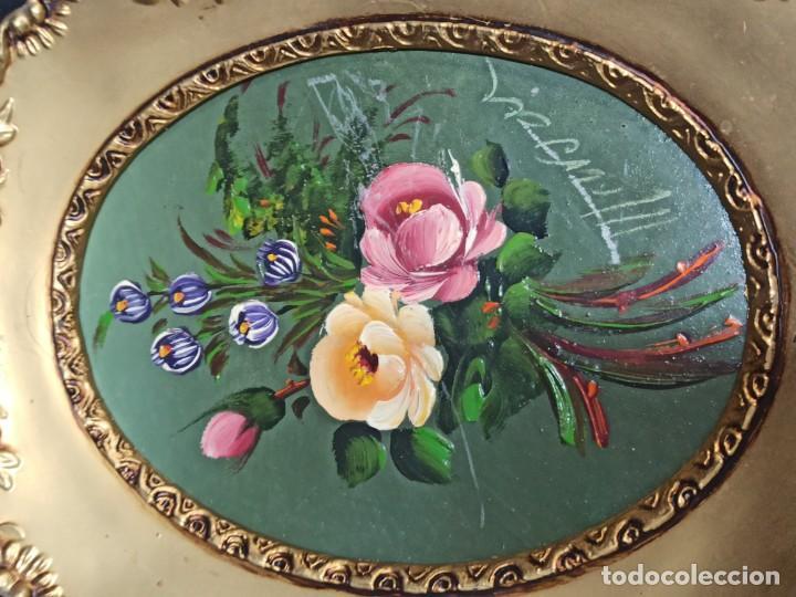 Vintage: Pareja de cuadros ovalados con flores. C14 - Foto 2 - 208595248