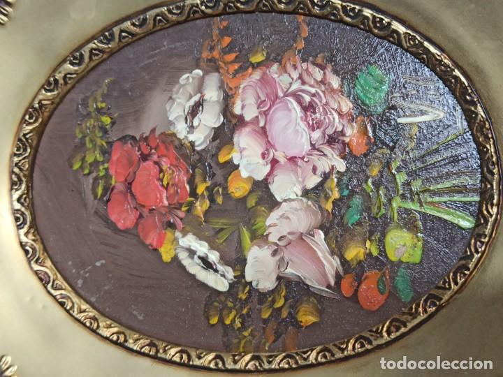 Vintage: Pareja de cuadros ovalados con flores. C14 - Foto 3 - 208595248