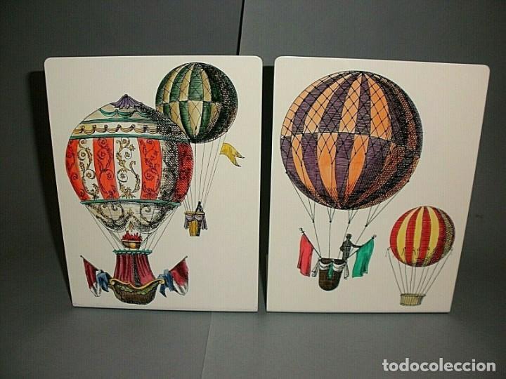 PIERO FORNASETTI MILANO PRECIOSA PAREJA SUJETALIBROS MAQUINAS VOLADORAS, NUEVOS (Vintage - Decoración - Varios)