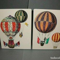 Vintage: PIERO FORNASETTI MILANO PRECIOSA PAREJA SUJETALIBROS MAQUINAS VOLADORAS, NUEVOS. Lote 101736214