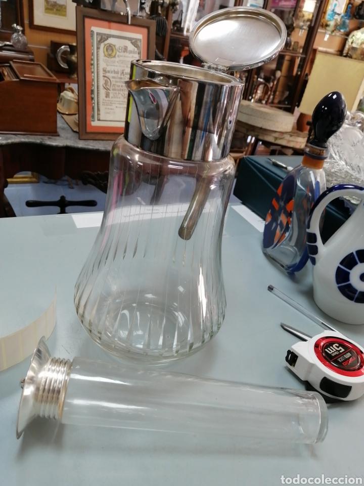 Vintage: Jarra enfriador cristal y alpaca - Foto 3 - 210210225