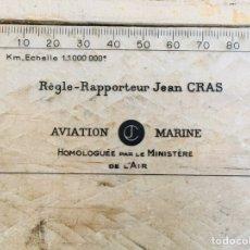 Vintage: REGLA FRANCESA MINISTERIO DEL AIRE AVIACIÓN TOPOPLASTIC REGLE RAPPORTEUR JEAN CRAS NAVEGACION. Lote 210346155