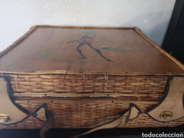 Vintage: Maleta picnic mimbre-madera - Foto 2 - 211453899
