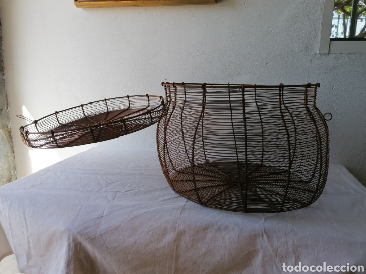Vintage: Cesta de hierro con tapa - Foto 5 - 211555266
