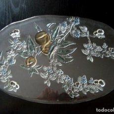 Vintage: BANDEJA DE CRISTAL CON FLORES EN RELIEVE. Lote 211870936