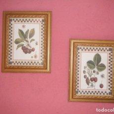Vintage: 2 ANTIGUOS MARCOS DE MADERA CON LAMINAS DE FRUTAS. AÑOS 60. Lote 211916613