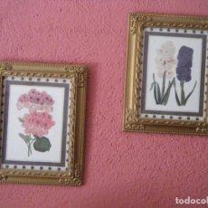 Vintage: 2 ANTIGUOS MARCOS DE MADERA CON LAMINAS DE FLORES. AÑOS 60. Lote 211917147