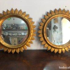 Vintage: PAREJA DE SOL DE MADERA Y DORADO ORIGINAL CON MEDIDAS 53,5 CM. Lote 212997695