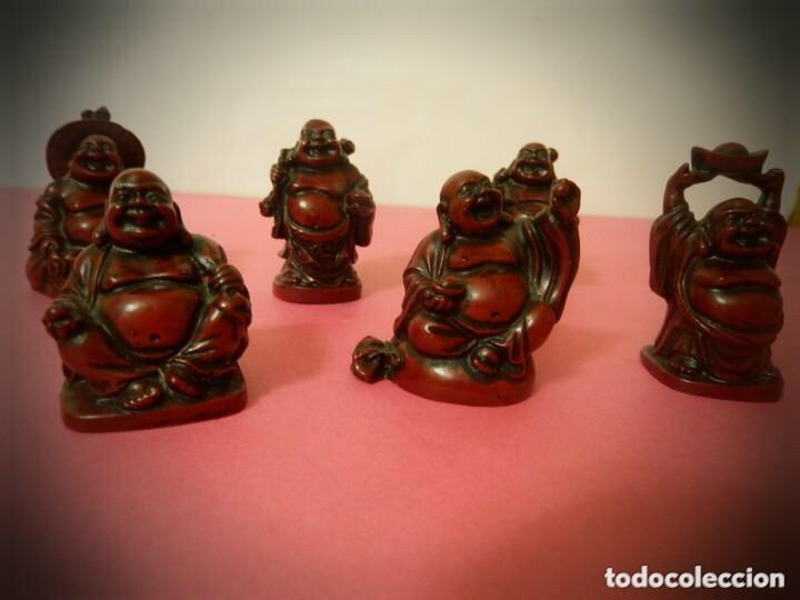 Vintage: 6 Figuras de Budas en resina roja, todas diferentes . - Foto 2 - 214797991