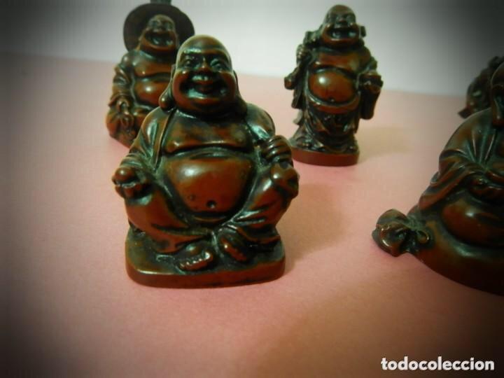 Vintage: 6 Figuras de Budas en resina roja, todas diferentes . - Foto 3 - 214797991