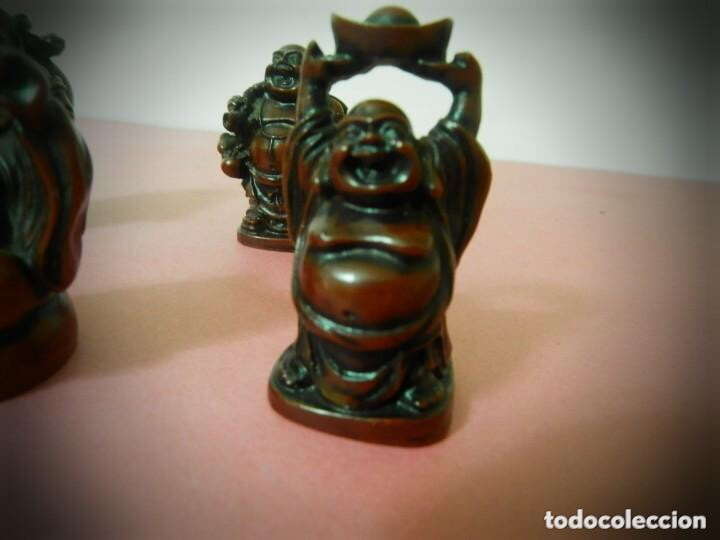 Vintage: 6 Figuras de Budas en resina roja, todas diferentes . - Foto 5 - 214797991