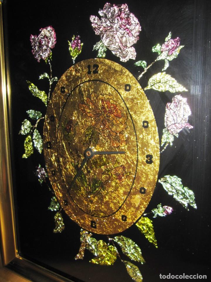 Vintage: Cuadro reloj vintage kitsch artesanal floral brillos dorado - Foto 4 - 214943950