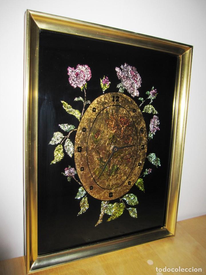 Vintage: Cuadro reloj vintage kitsch artesanal floral brillos dorado - Foto 5 - 214943950