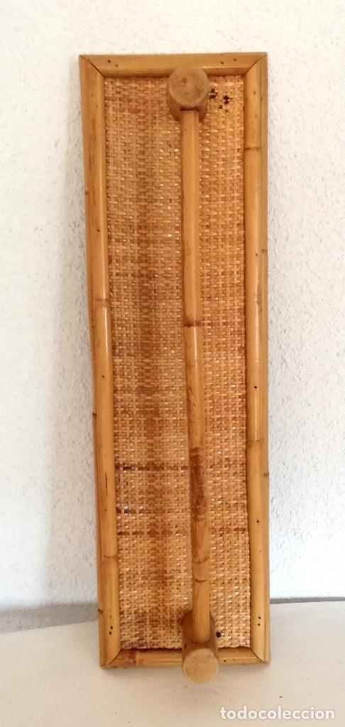Vintage: Toallero de pared colgador perchero de caña bambú madera - Foto 2 - 215159251