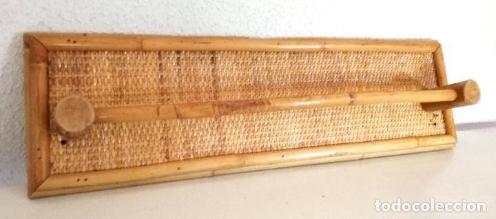 Vintage: Toallero de pared colgador perchero de caña bambú madera - Foto 3 - 215159251