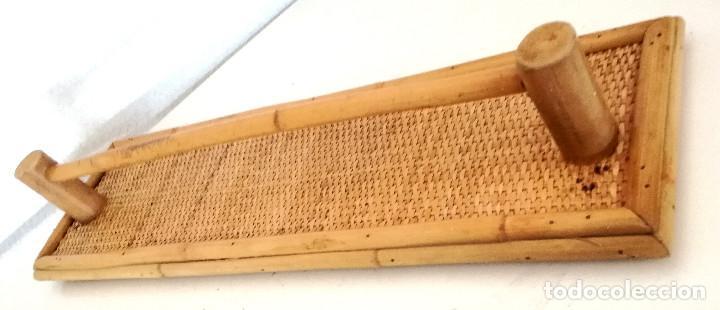 Vintage: Toallero de pared colgador perchero de caña bambú madera - Foto 6 - 215159251