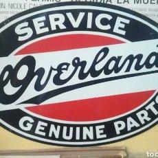 Vintage: CARTEL DE CHAPA AMERICANO SERVICE OVERLAND. Lote 215314567