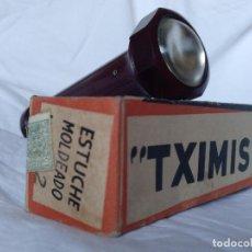 Vintage: LINTERNA AÑOS 40/50 DE BAQUELITA MARCA TXIMIST NUEVA CON CAJA MADE IN SPAIN OÑATE-OÑATI CEGASA. Lote 216981562