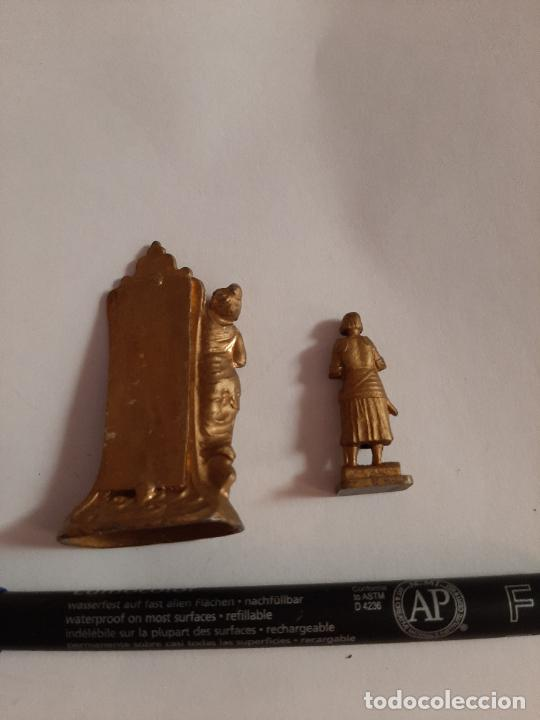 Vintage: Lote 2 figuras metal pequeñas, una de ellas con termometro de mercurio - Foto 2 - 217413475