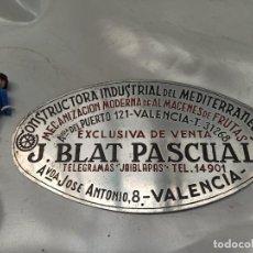 Vintage: CARTEL CHAPA DECORACIÓN INDUSTRIAL AV PUERTO VALENCIA BLAT. Lote 217920317